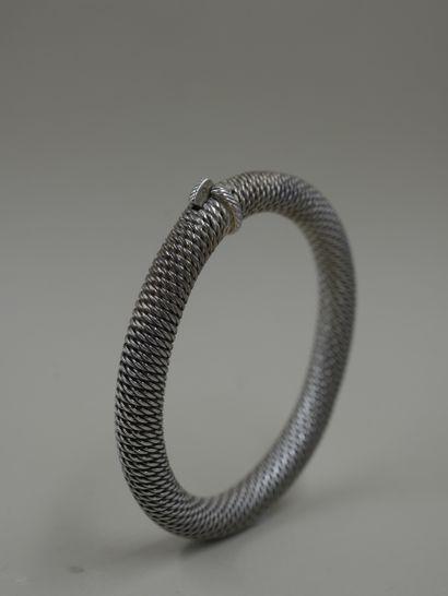 HERMES - Bracelet jonc souple cordage ouvrant...