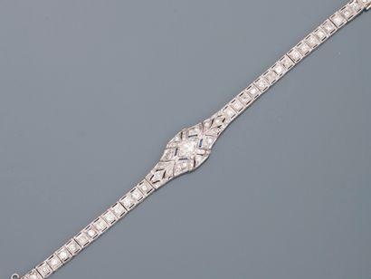 Bracelet Art Déco en platine et or gris 18k...