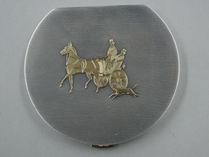 HERMES - Poudrier en argent et or jaune 18k...