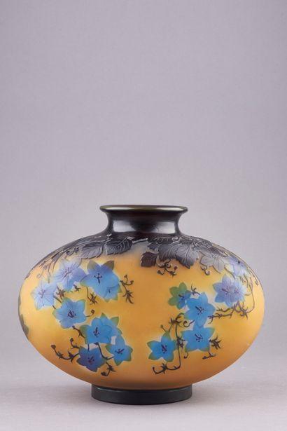Emile GALLE ( 1846-1904). Vase en verre multicouche...