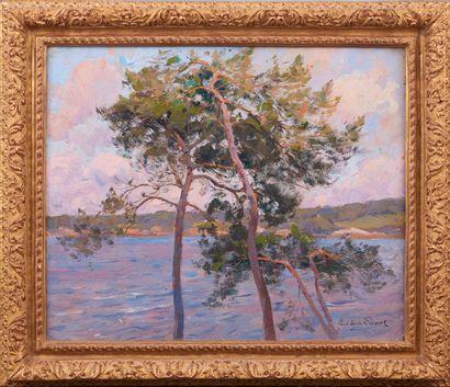 Paul Emile LECOMTE (1877-1950). Vue sur la mer. Huile sur toile signée en bas à...