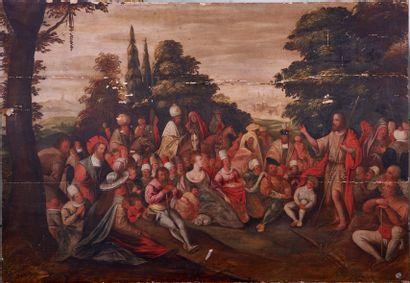 Ecole Flamande XVIIème siècle. La Prédication...