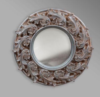Grand miroir sorcière en bois sculpté et...
