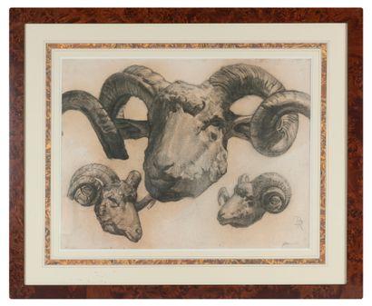 Ecole Française XIXème siècle. Dessin au fusain, craie et crayon représentant une...