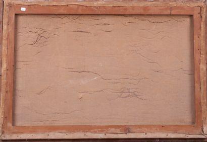 Paul LEBRUN (XXème). Bateaux à quai. Huile sur toile signée en bas à gauche. 52...