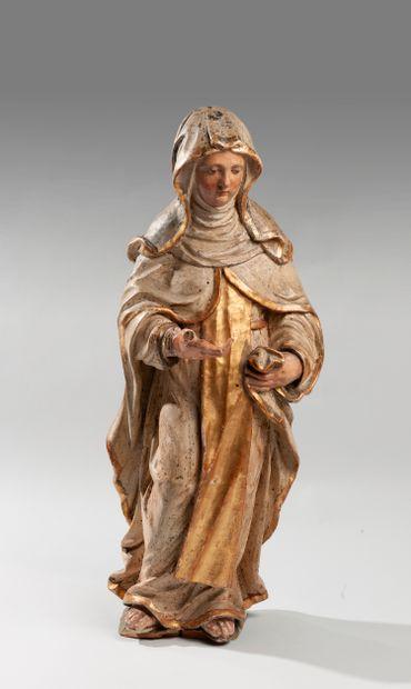 Sculpture en bois polychrome et doré représentant...