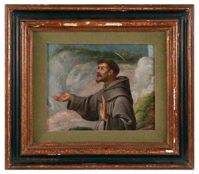 Ecole Italienne XVIIème siècle. Saint François. Huile sur toile. 25 x 31 cm