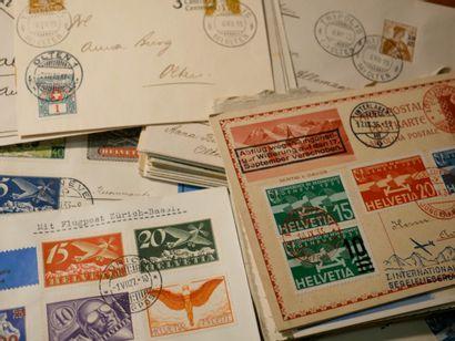 SUISSE Emissions 1900/1938 : Lot de lettres et entiers postaux, plusieurs dizaines...