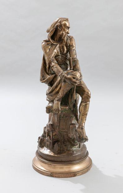 Emile Pierre Eugène HEBERT (1828-1893), Le Philosophe, épreuve en bronze à patine...