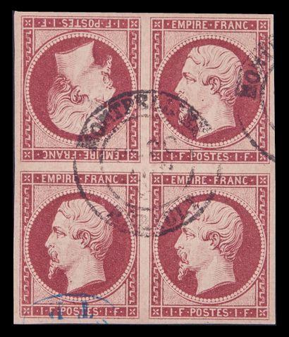 FRANCE Emission 1853 : Yvert N°R18 - 1F CARMIN...