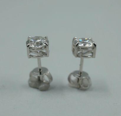 Paire de magnifiques puces d'oreilles en or blanc 18k serties chacune d'un diamant...