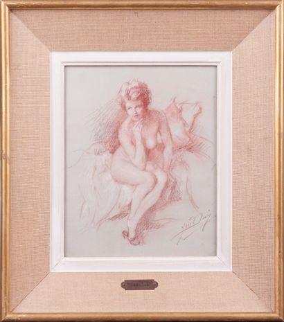 Yves DIEY (1892 - 1984). Nu assis. Sanguine. Signée en bas à droite. 25,5 x 20,5...
