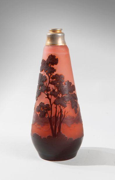 Emile GALLÉ (1846-1904). Vase oblong en...