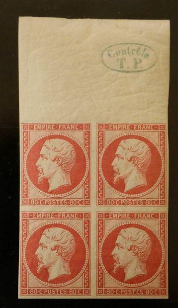 FRANCE Emission 1859 : N°17B-80c ROSE, en...