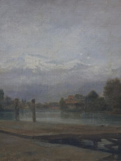 Edouard FRERE (1819-1886). Ponton au bord d'un lac. Huile sur toile. Signée en bas...