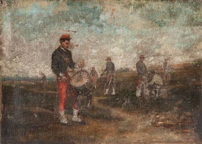 Ecole du XIXe siècle. Fantassins au tambour,...