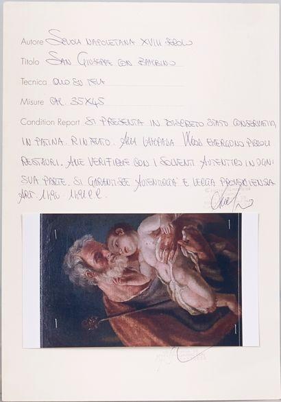 Ecole Italienne XVIIIème siècle. Saint Joseph avec l'Enfant Jésus. Toile rectangulaire...