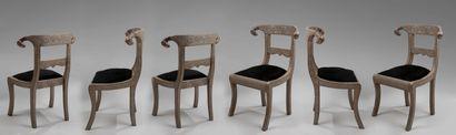 MAISON ROMEO. Six chaises en métal repoussé...