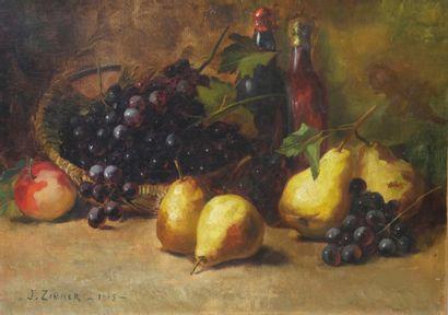 J. ZIMMER. Nature morte aux poires et aux raisins. Huile sur toile signée en bas...