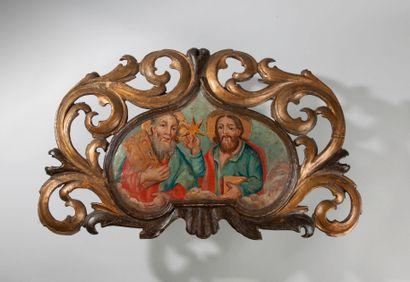 Fronton d'iconostase en bois doré et polychrome...