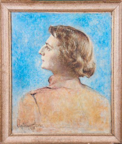 Anthony GREEN (1939). Portrait de femme de profil. Huile sur toile. Signée en bas...