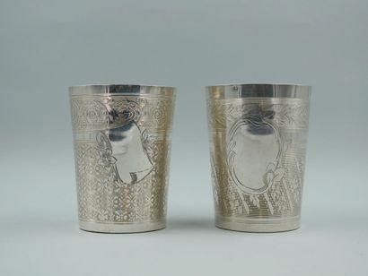 Deux timbales de forme tronconique en argent...