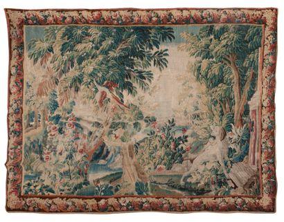 Aubusson, Tapisserie en laine à décor d'un...