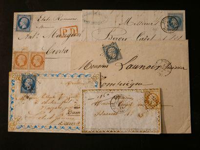 FRANCE Emissions de l'Empire 1854 à 1873 : Ensemble de timbres et lettres dont 1er...