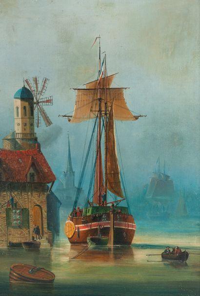 Ecole Hollandaise XIXème siècle. Port en...