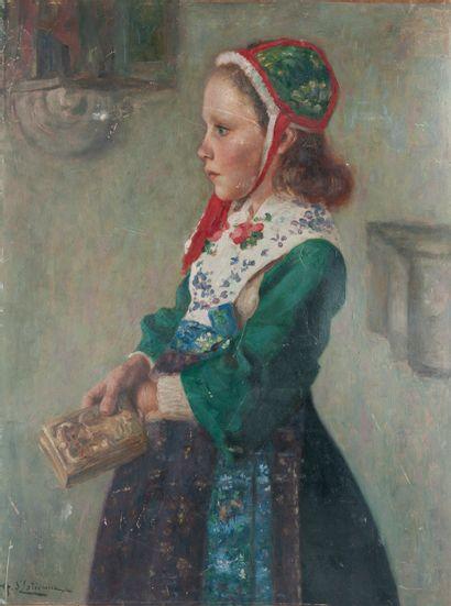 Henry d'ESTIENNE (1872-1949). Portrait de petite fille au livre. Huile sur carton....