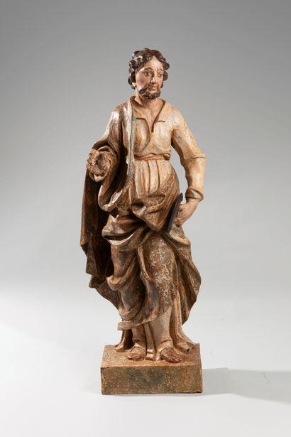 Sculpture en bois polychrome représentant...