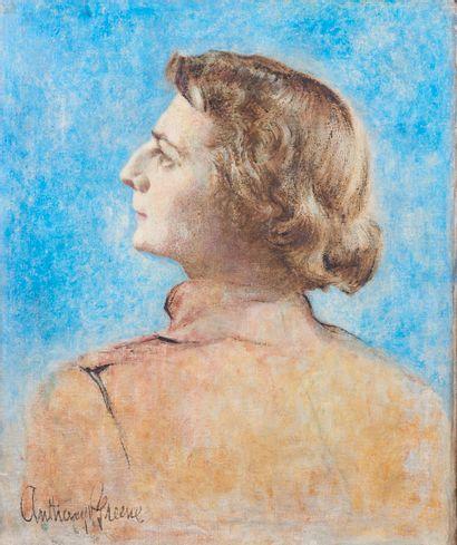 Anthony GREEN (1939). Portrait de femme de...