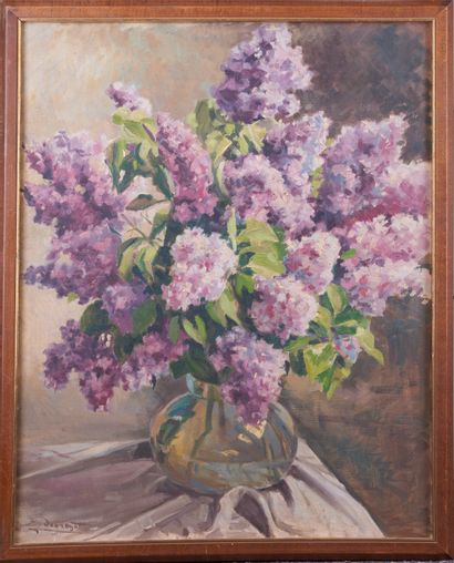 Jean DUGRENOT (1894 - 1969). Vase au bouquet...