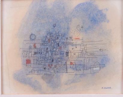 Hector VILCHE (Né en 1942). Composition bleue....
