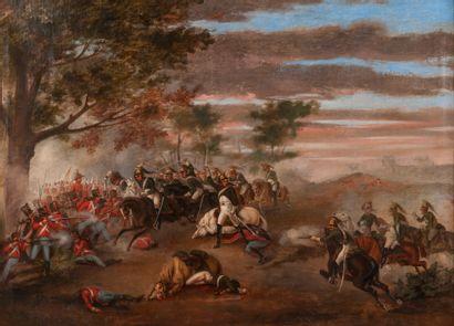 Ecole Française XIXème siècle . Scène de charge de cavalerie sous l'Empire. Esquisse...