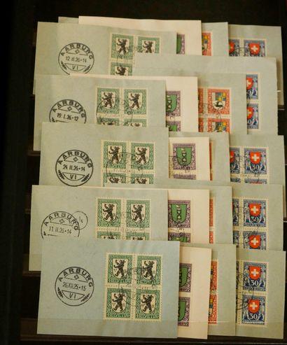 SUISSE Emissions 1905/1938 : Très intéressant lot de timbres oblitérés, en blocs...