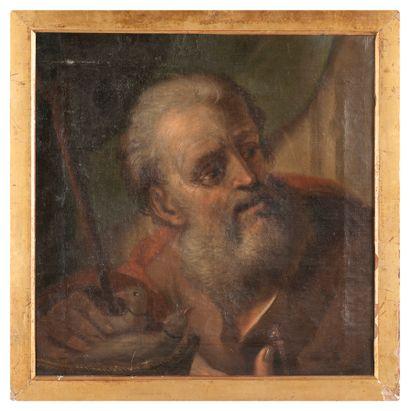 Ecole Italienne début XVIIIème. Saint Joseph. Huile sur toile. 35,5 x 35,5 cm