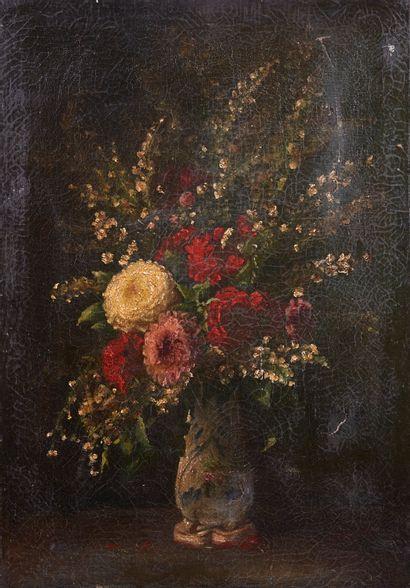 Ecole Flamande XIXème siècle. Bouquet de...