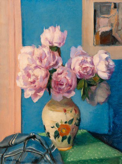 Charles KVAPIL (1884-1957). Vase au bouquet de pivoines roses. Huile sur toile signée...