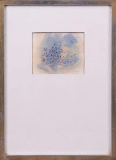 Hector VILCHE (Né en 1942). Composition bleue. Aquarelle et encre sur calque. Signée...