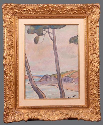 Adolphe Marie BEAUFRERE (1876-1960). Le passage du Pouldu. Huile sur papier marouflée...