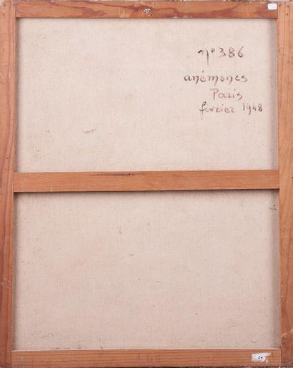 Jean DUGRENOT (1894 - 1969). Vase au bouquet d'anémones. Huile sur toile signée...