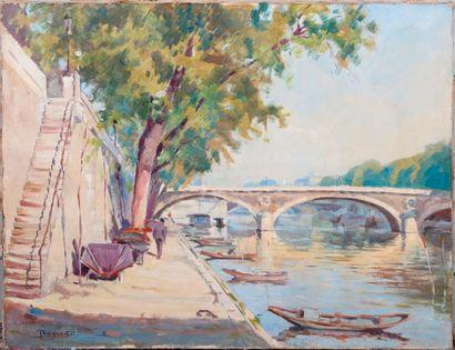 Jean DUGRENOT (1894 - 1969). Bords de Seine....