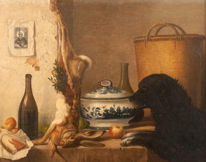 Ecole Française XIXe siècle. Le chien tenté...