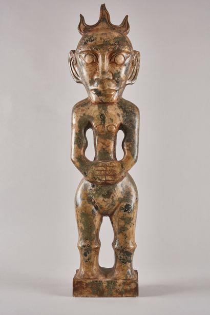 AFRIQUE. Sculpture funéraire d'un ancêtre...