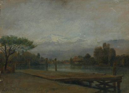 Edouard FRERE (1819-1886). Ponton au bord...