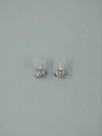 Paire de puces d'oreilles en or blanc 18k chacune sertie d'un diamant taille brillant...