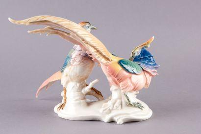 SAXE, Manufacture de Karl ENS. Couple de faisans en porcelaine polychrome. Signé...
