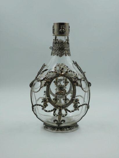 Carafe Néo Renaissance en verre habillée...