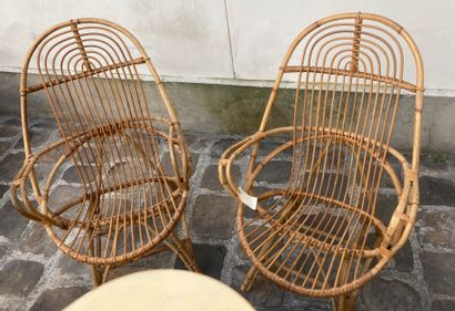 Rattan living room set, composed of two seats (Height 97cm, Width 60cm, Depth 56cm),...